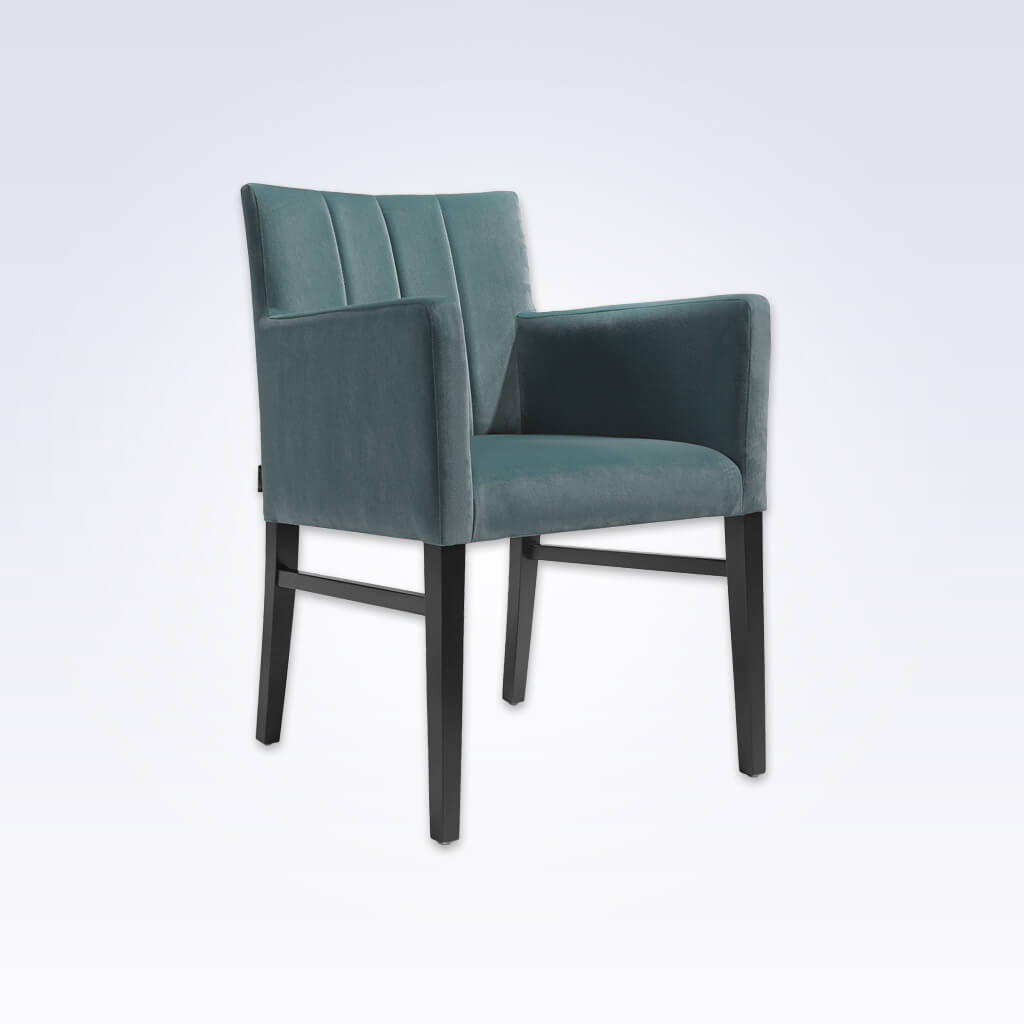Sage Blue Velvet Tub Chair With Angular Backrest and High Arms 2047 TC1