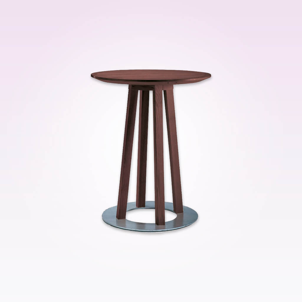 Sallo narrow bar table with circular metal base plate and round top. 1144