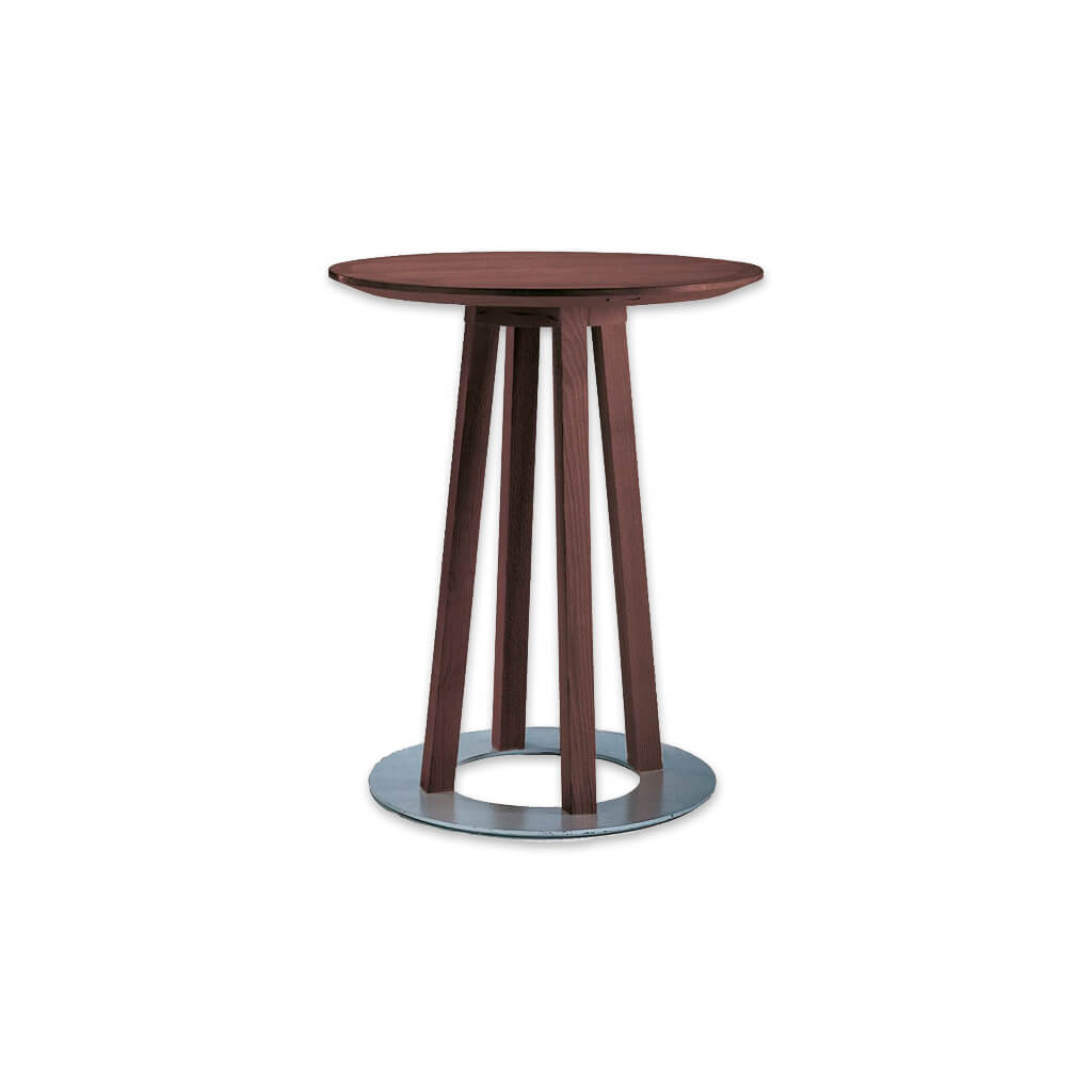 Sallo narrow bar table with circular metal base plate and round top. 1144 - Designers Image