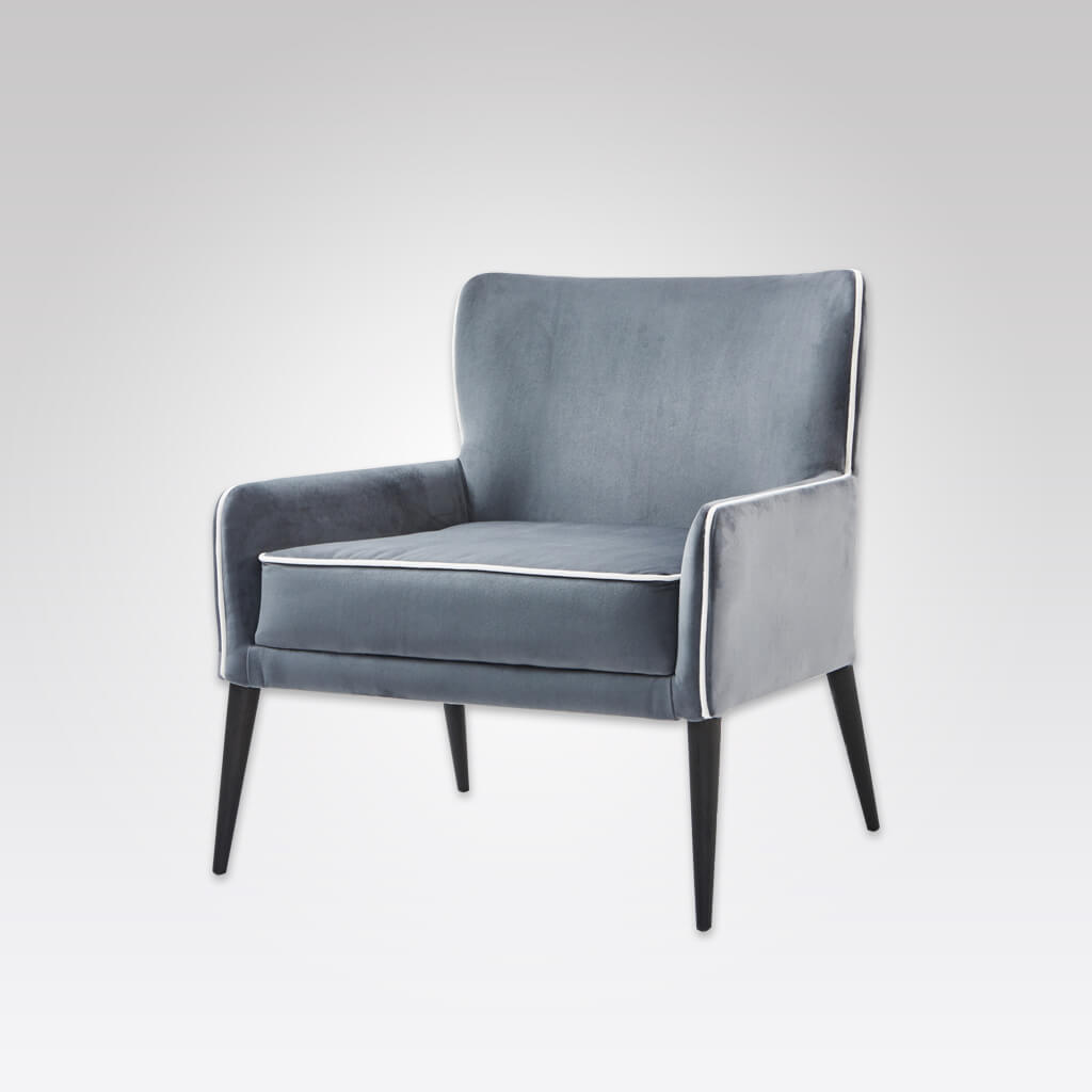 Samara Upholstered Blue Lounge Chair with Show Wood Legs and Piping Detail 1031 LC1
