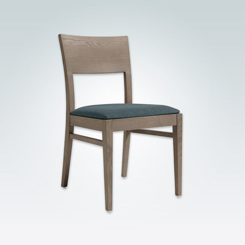 Sapphire Blue Dining Chair with Timber Open Back and Drop in Seat Pad 3035 RC1