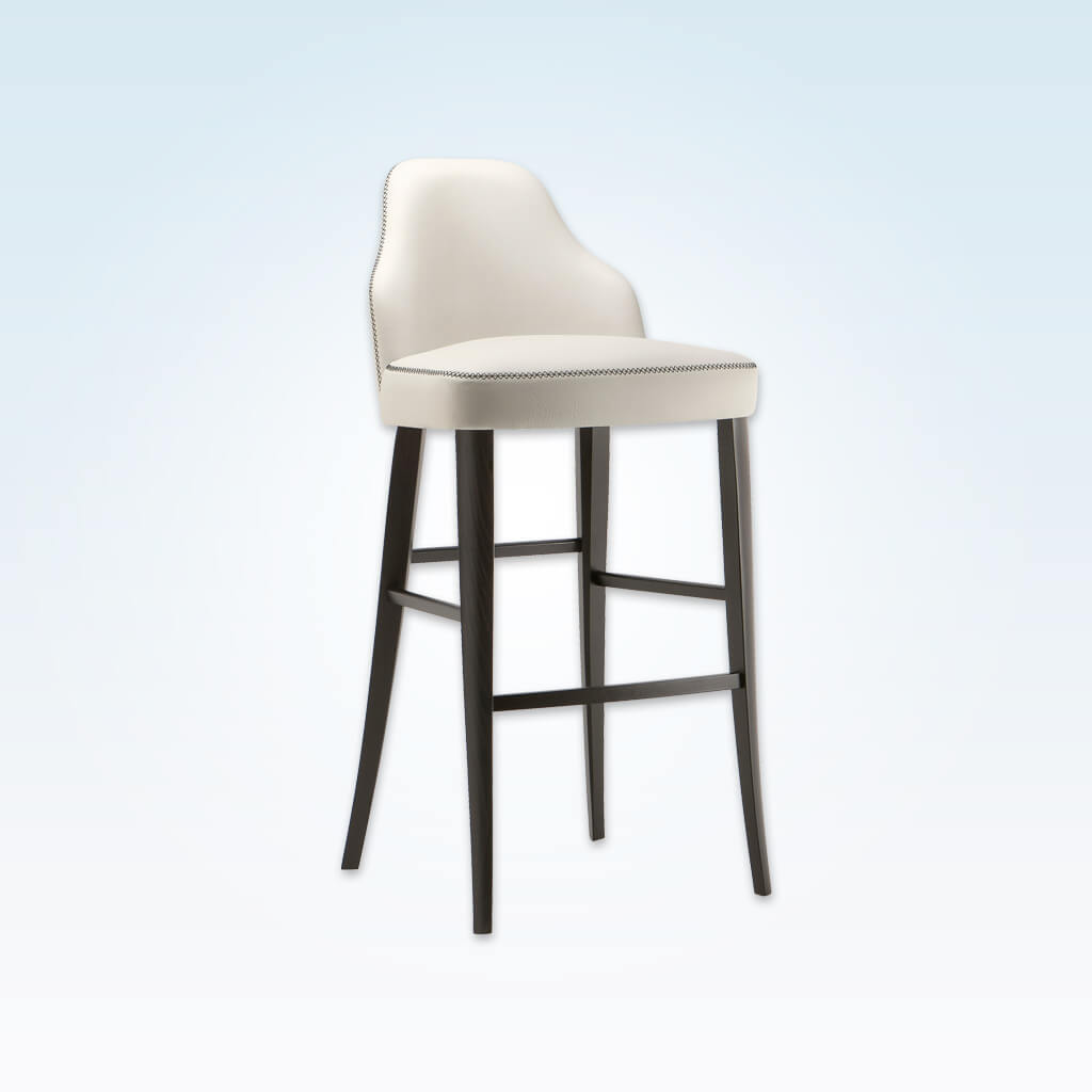 Seattle white bar stool with backrest featuring contrast piping and wooden legs splayed to the rear 6011 BR1
