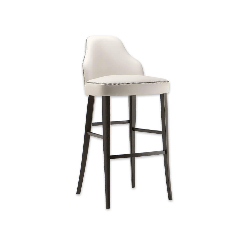 Seattle white bar stool with backrest featuring contrast piping and wooden legs splayed to the rear 6011 BR1 - Designers Image