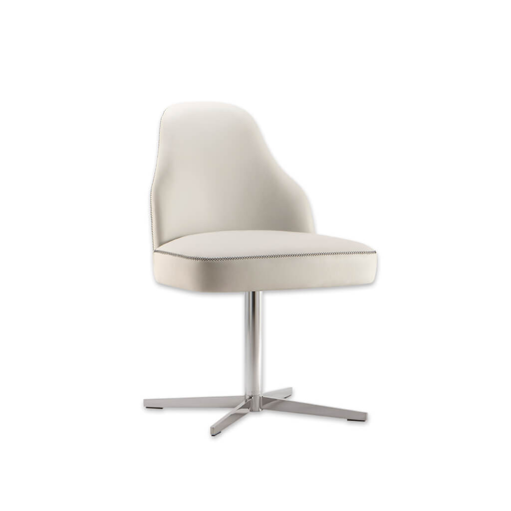 Seattle Faux Leather Cream Desk Chair Deep Padded Seat with Stitching Detail and Sturdy Four Star Base 5003 DC1 - Designers Image