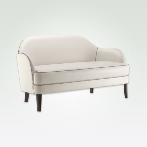 Seattle modern white sofa with leather upholstery and decorative stitching detail 8012 SF1