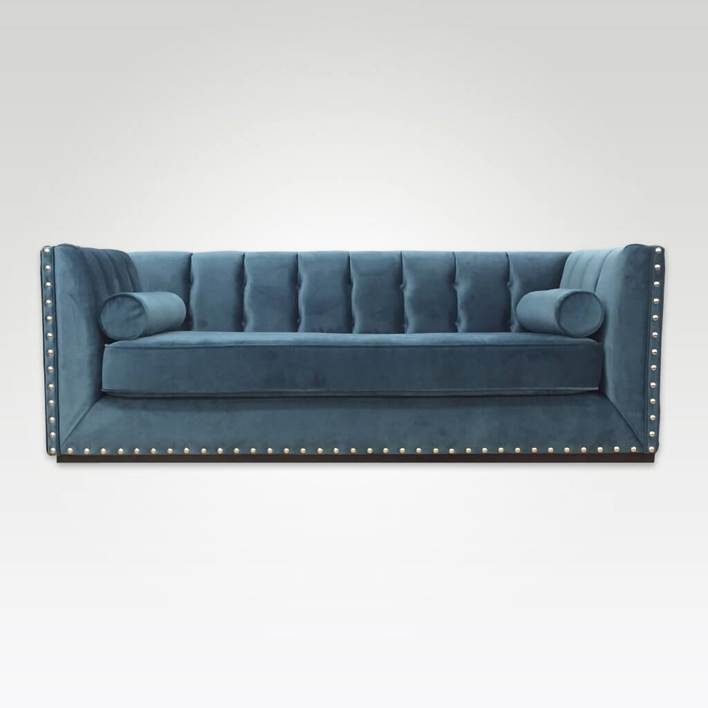 Simona luxurious light blue sofa bed with decorative studding and buttoning 9010 SB1