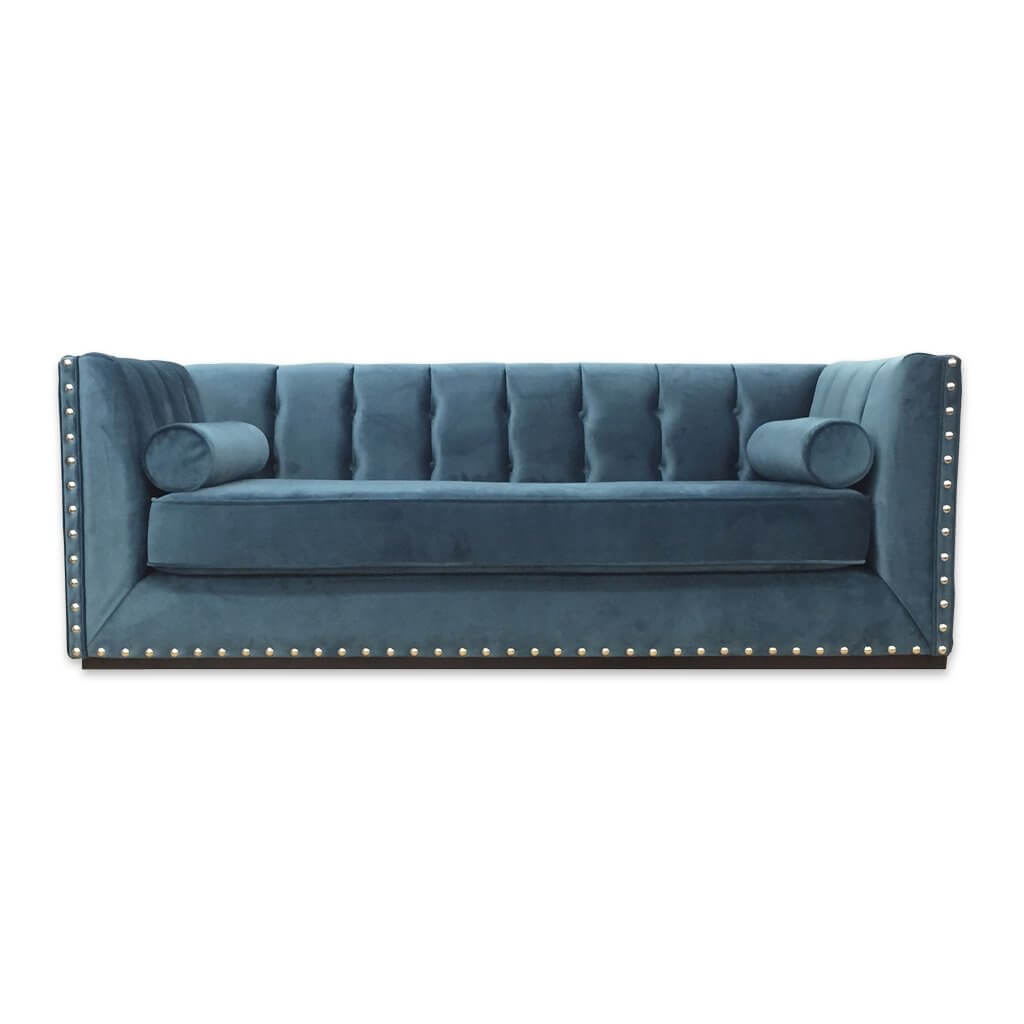 Simona luxurious light blue sofa bed with decorative studding and buttoning 9010 SB1 - Designers Image