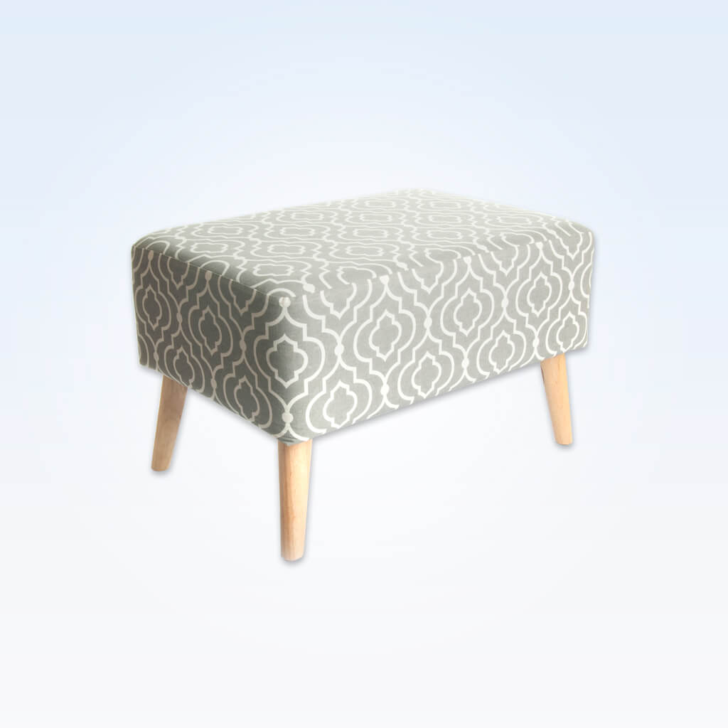 Sophia large patterned ottoman with conical tapered legs 10011 OT1