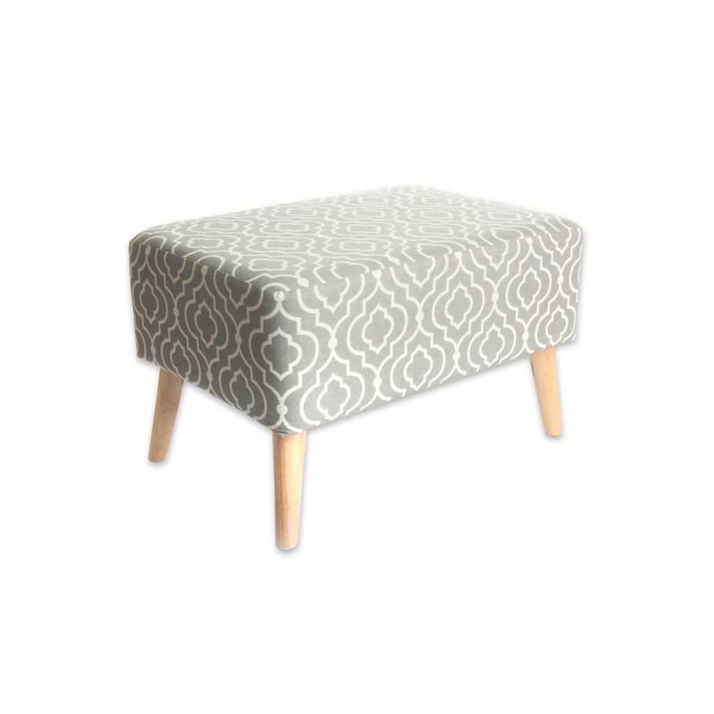 Sophia large patterned ottoman with conical tapered legs 10011 OT1 - Designers Image