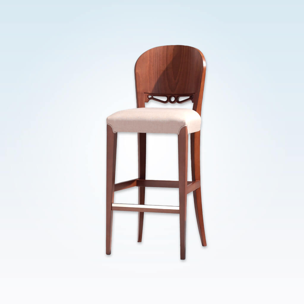 Squero cream wooden bar stool with ornate detail to the backrest and wooden frame with metal trimmed kick plate 6046 BR1