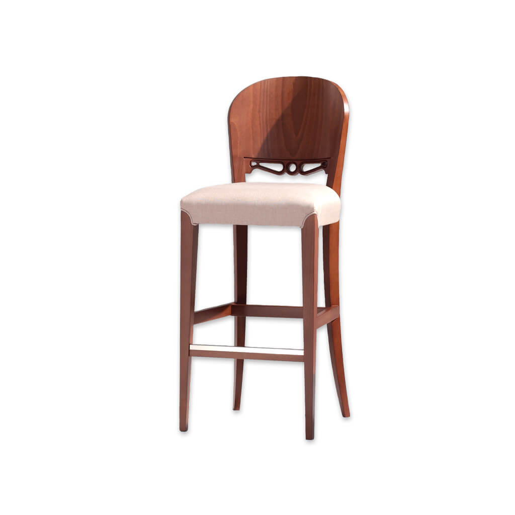 Squero cream wooden bar stool with ornate detail to the backrest and wooden frame with metal trimmed kick plate 6046 BR1  - Designers Image