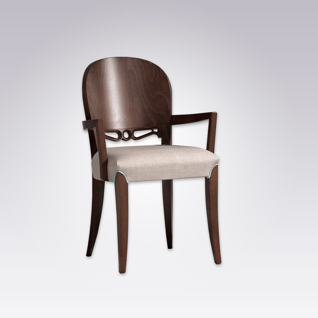 Squero Cut Out Dining Chair Round Show Wood Back Feature with Piping Detail around Front Legs 4042 AC1