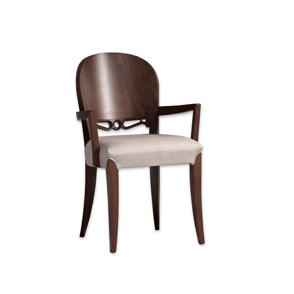 Squero Cut Out Dining Chair Round Show Wood Back Feature with Piping Detail around Front Legs 4042 AC1 - Designers Image