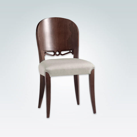 Squero Brown Dining Chair with Show Wood Back Feature and Piping Detail around Front Legs 3073 RC1