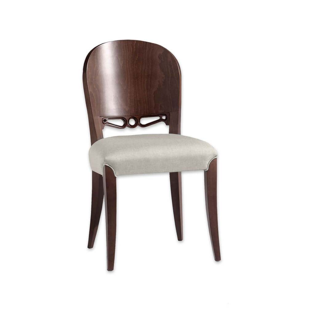 Squero Brown Dining Chair with Show Wood Back Feature and Piping Detail around Front Legs 3073 RC1 - Designers Image