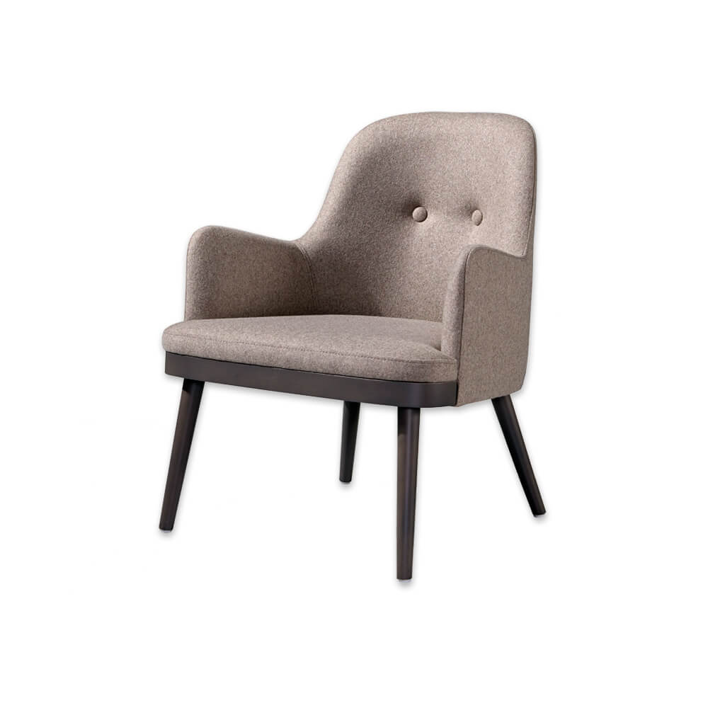Stella Upholstered Brown Lounge Chair with Tapered Cylindrical Legs Show Wood Plinth and Two Back Buttons 1033 LC1 - Designers Image
