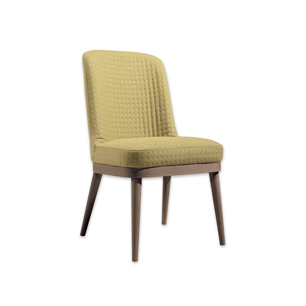 Stella Nordic Yellow Dining Chair with Show Wood Plinth and Splayed Back Legs 3041 RC1 - Designers Image