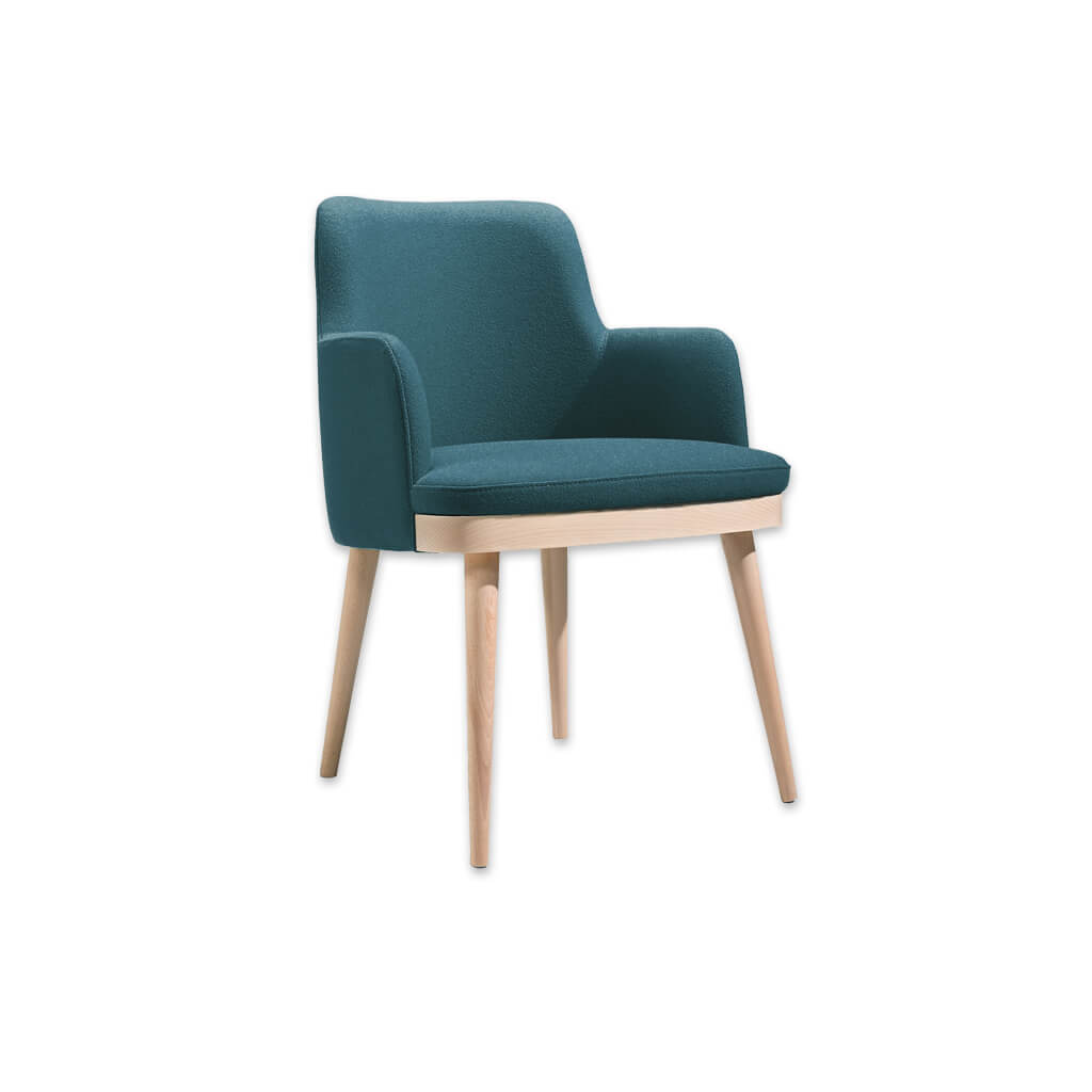 Stella Upholstered Blue Tub Chair With High Backrest and Splayed Timber Legs 2032 TC2 - Designers Image