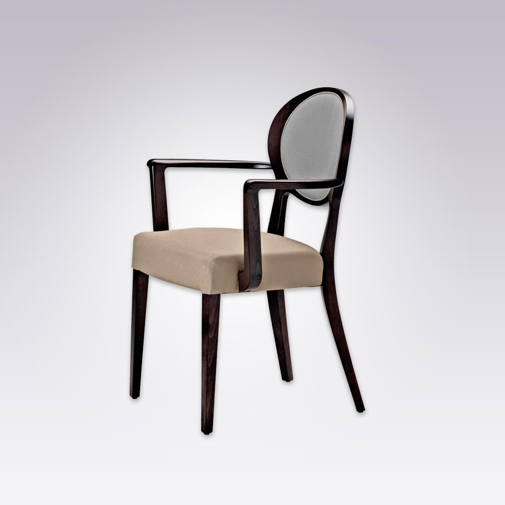 Suli Open Back Dining Chair with Round Upholstered Backrest and Splayed Timber Legs 4044 AC1