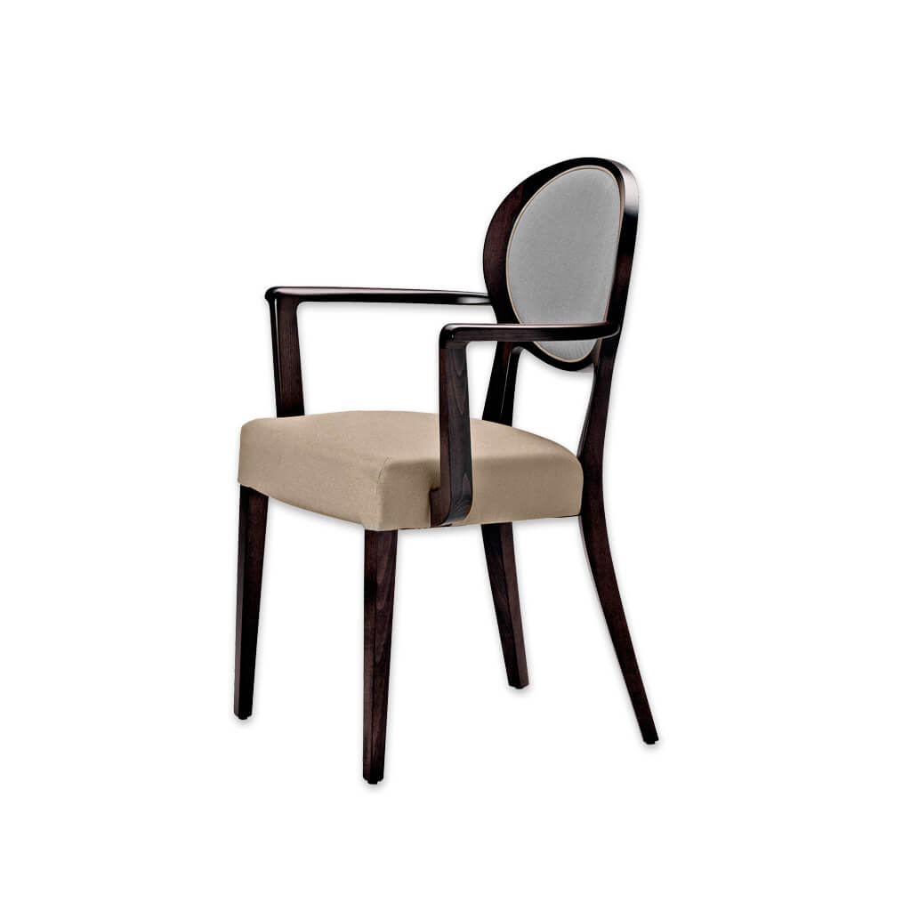 Suli Open Back Dining Chair with Round Upholstered Backrest and Splayed Timber Legs 4044 AC1 - Designers Image