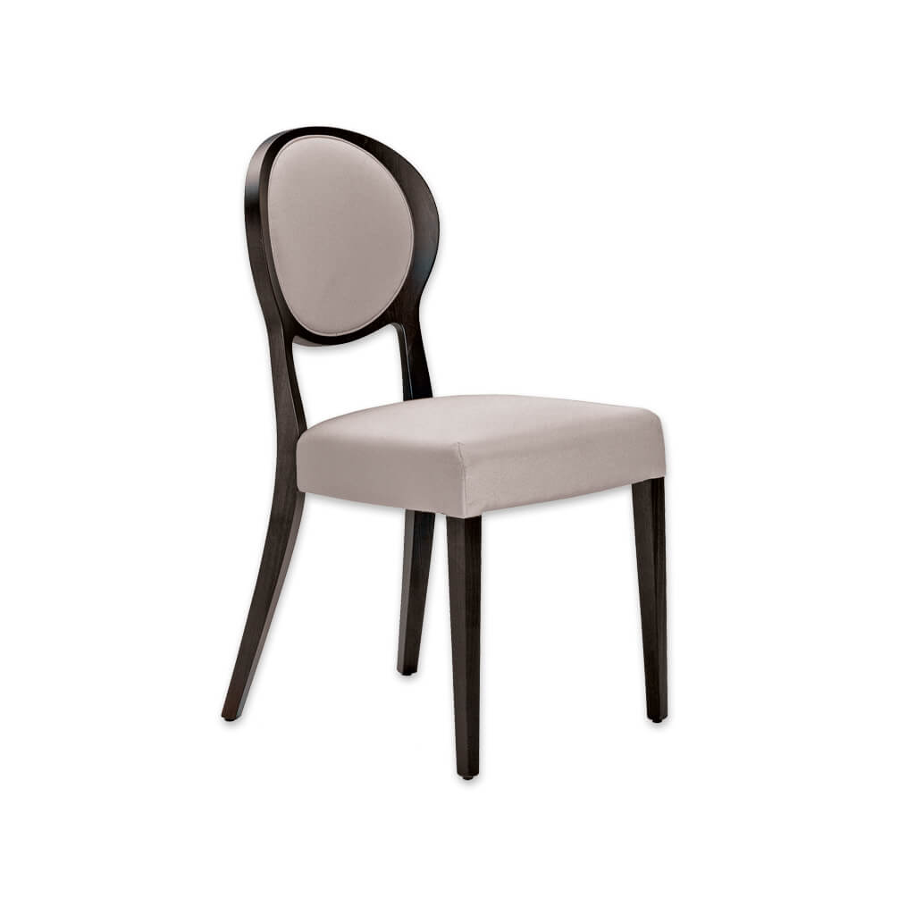 Suli Cream and Wood Dining Chair Open Back Round Upholstered Back Panel with surrounding Show Wood and Back Splayed Legs 3076 RC1 - Designers Image