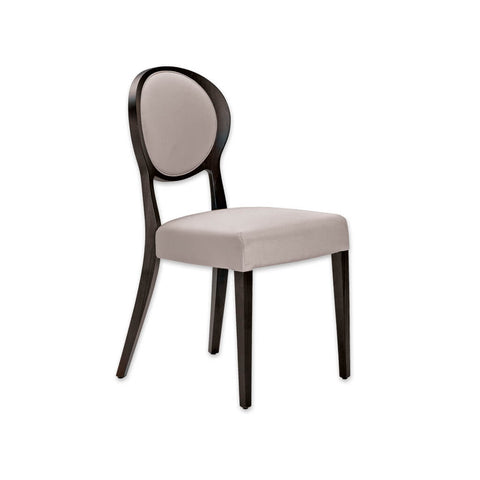 Suli Cream and Wood Dining Chair Open Back Round Upholstered Back Panel with surrounding Show Wood and Back Splayed Legs 3076 RC1