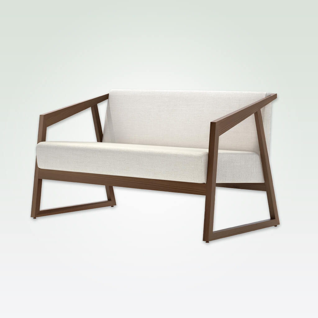Tago contemporary white and brown sofa with open timber frame and ski legs. 8032 SF1