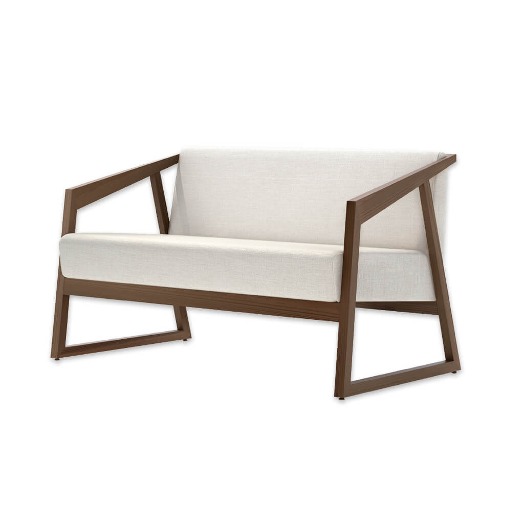 Tago contemporary white and brown sofa with open timber frame and ski legs 8032 SF1 - Designers Image