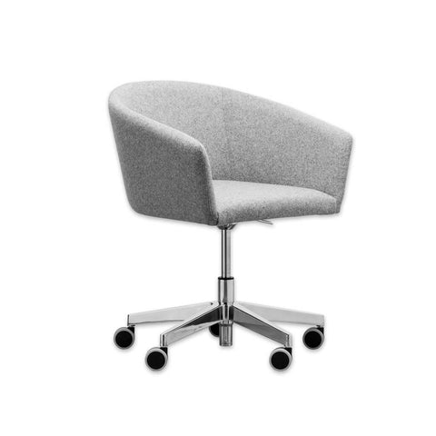 Tati Grey Fabric Desk Chair with Curved Backrest and Adjustable Five Star Base PO03 DC1