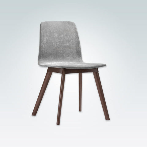 Tecla Fully Upholestered Grey Velvet Dining Chair with Show Wood Plinth and Legs SE01B RC4