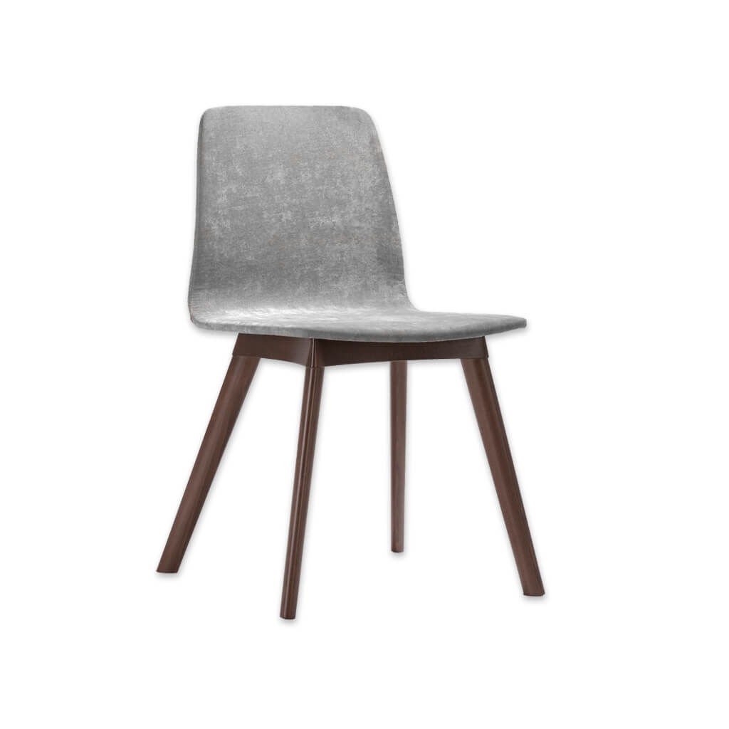 Tecla Fully Upholestered Grey Velvet Dining Chair with Show Wood Plinth and Legs SE01B RC4 - Designers Image