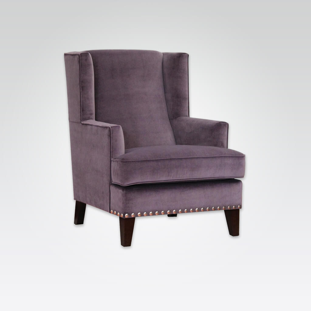 Teide Fully Upholstered Purple Armchair with Seat Stud Detail 1058 LC1