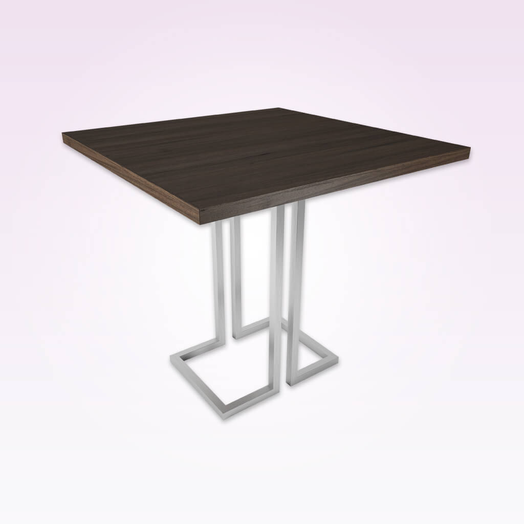 Thalia wood furniture dining table with metal square tubing base. 1150