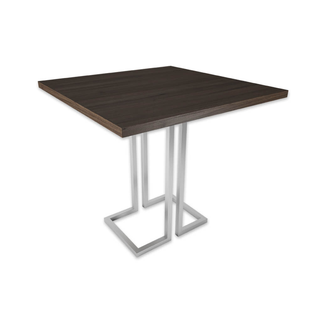 Thalia wood furniture dining table with metal square tubing base. 1150 - Designers Image