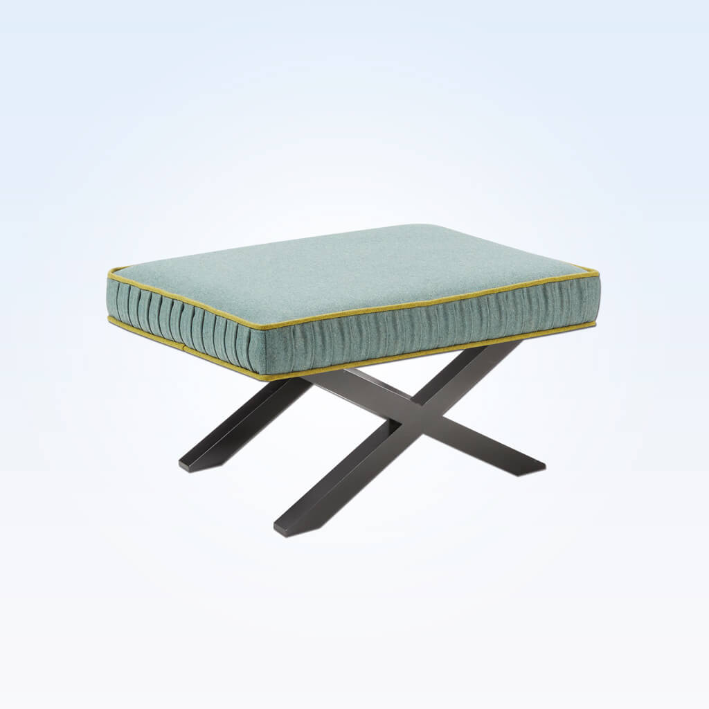 Tijera small green ottoman with contrast piping and cross leg wooden base TIJE60 OT1