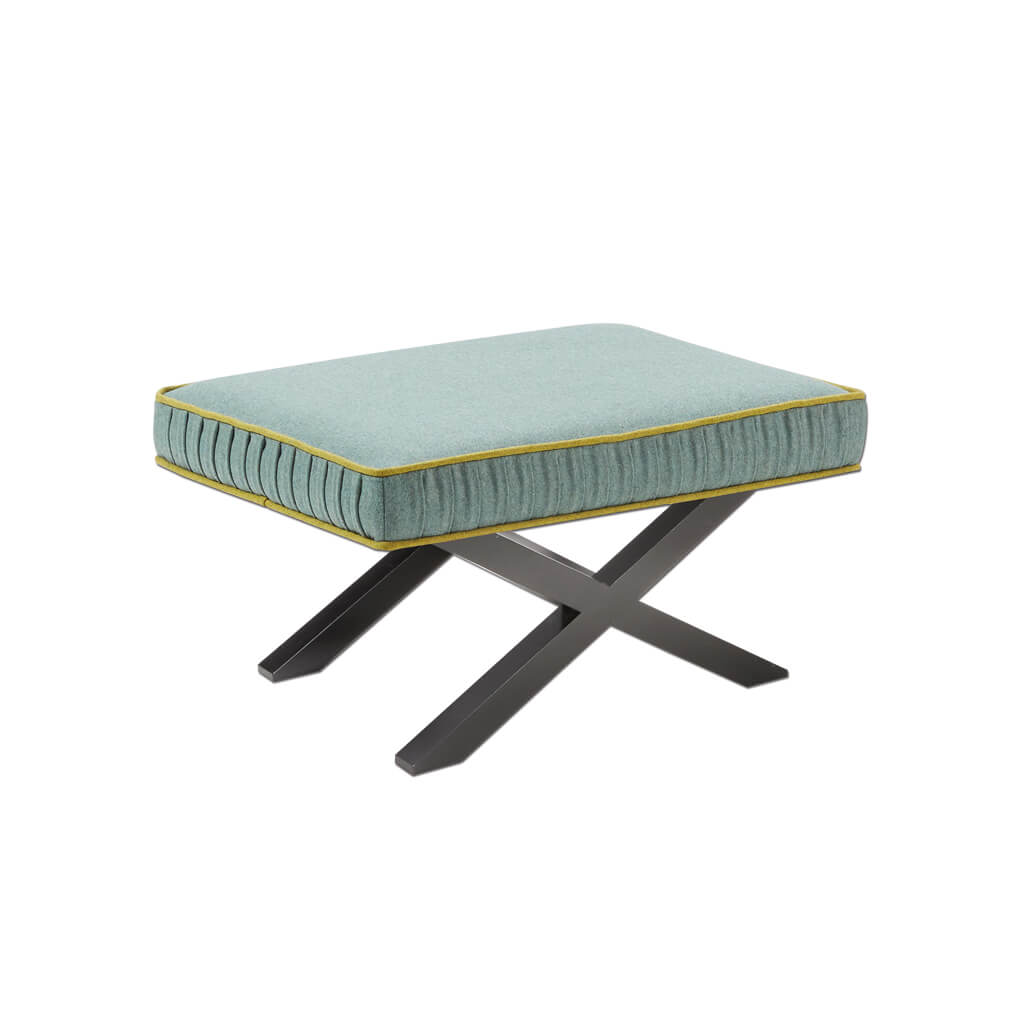 Tijera small green ottoman with contrast piping and cross leg wooden base TIJE60 OT1 - Designers Image