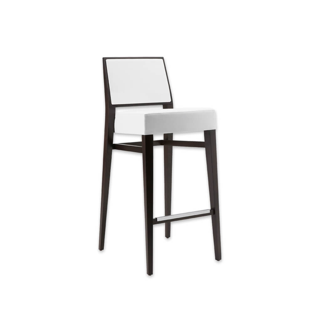 Timberly white and black bar stool with deep padded cushion and square backrest. Tapered wooden legs and a metal trimmed kick plate 6048 BR1 - Designers Image