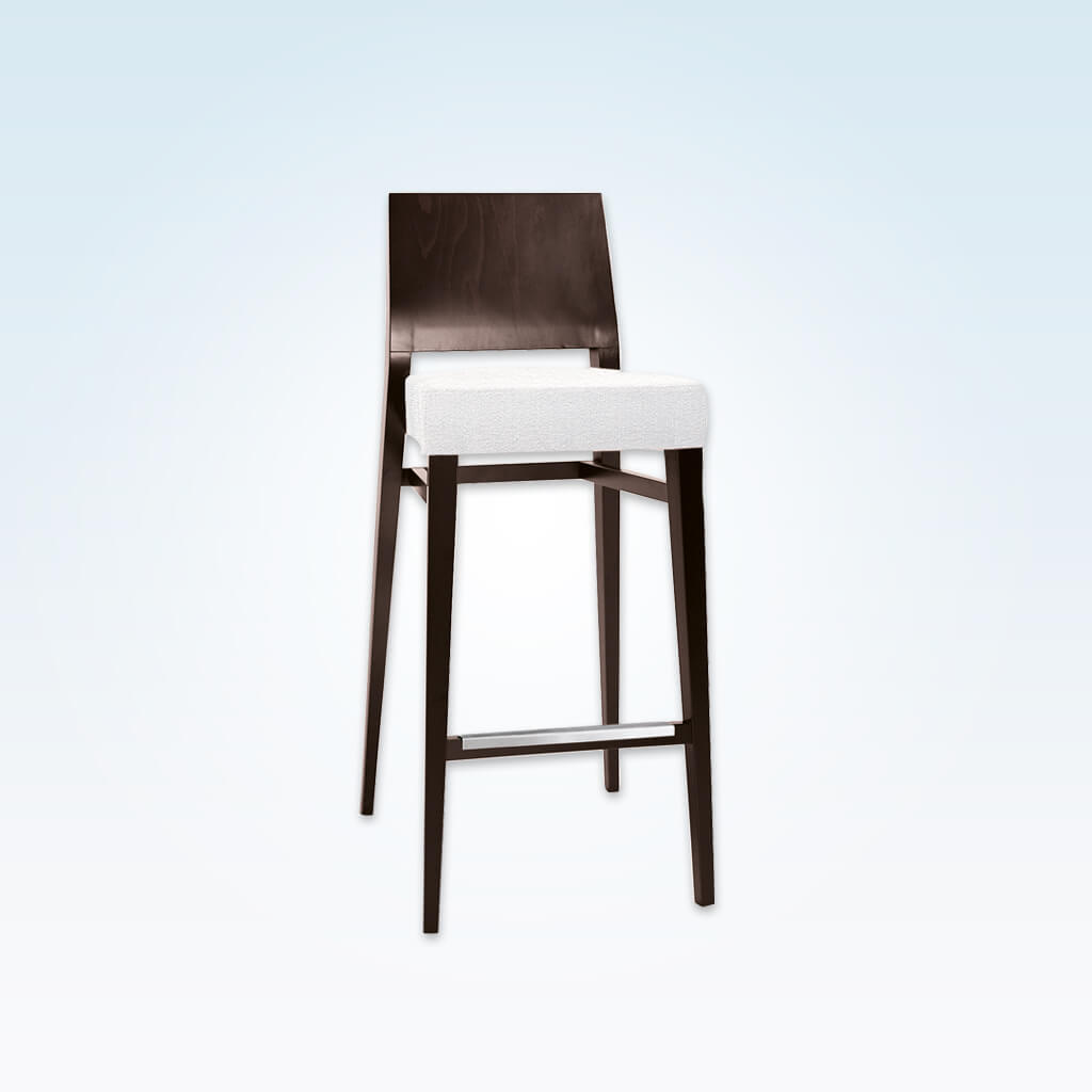 Timberly dark brown wooden bar stool with white deep padded seat cushion and wooden backrest 6048 BR2