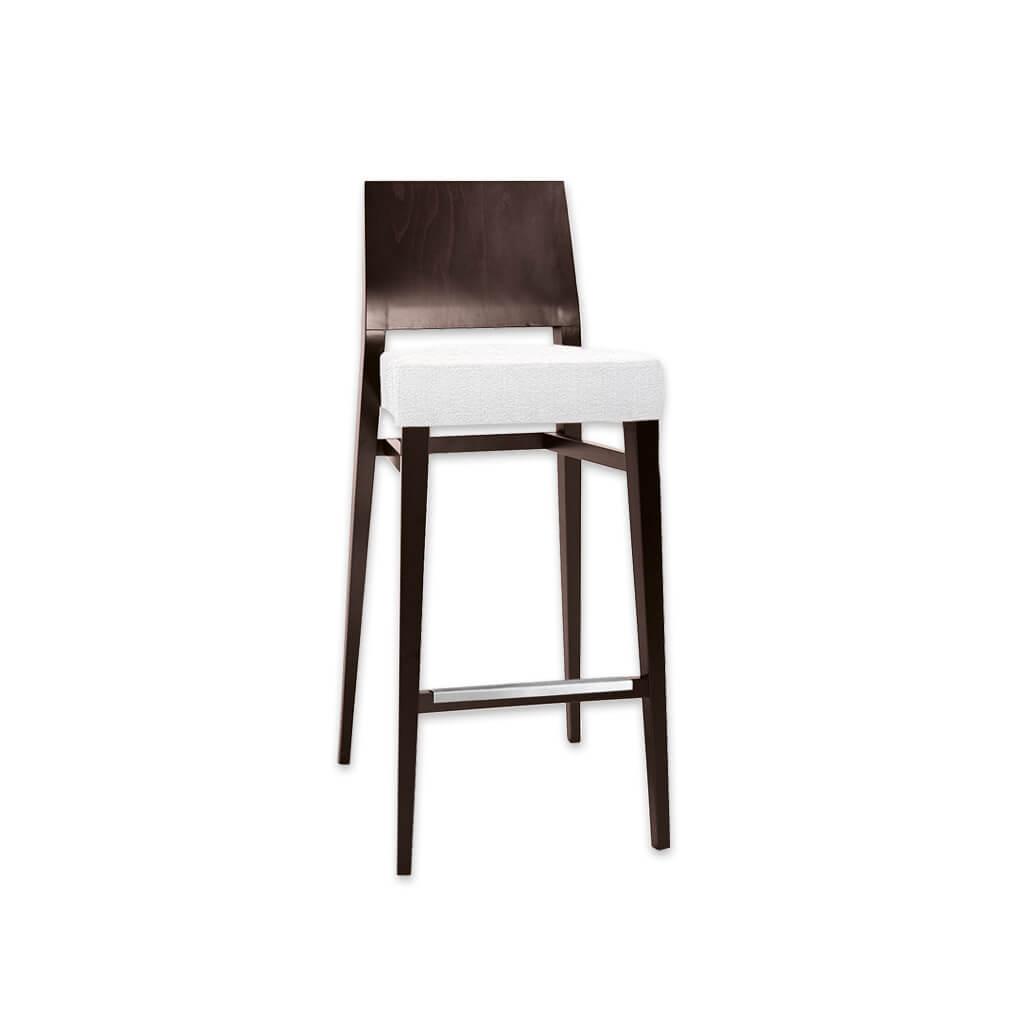 Timberly dark brown wooden bar stool with white deep padded seat cushion and wooden backrest 6048 BR2 - Designers Image