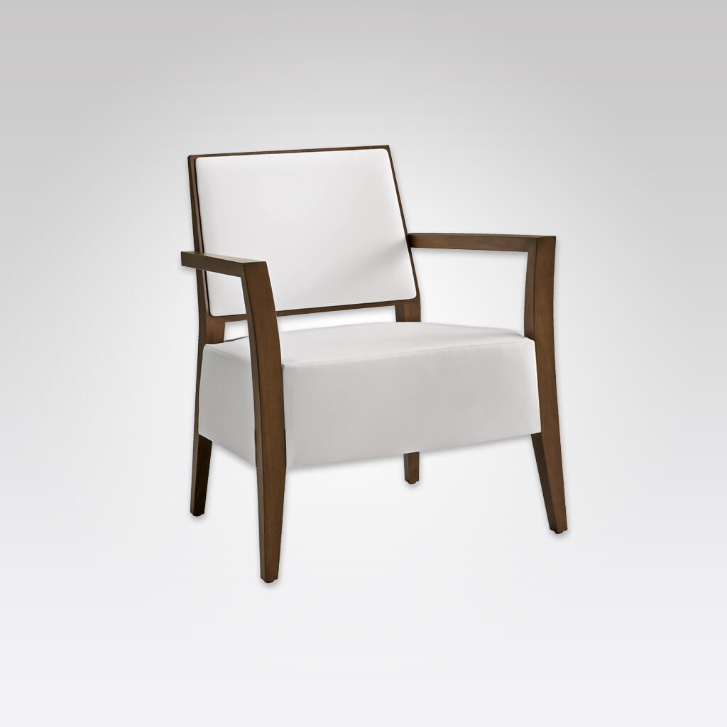 Timberly White Lounge Chair with Angular Show Wood Frame and Deep Upholstered Seat Pad 1060 LC1