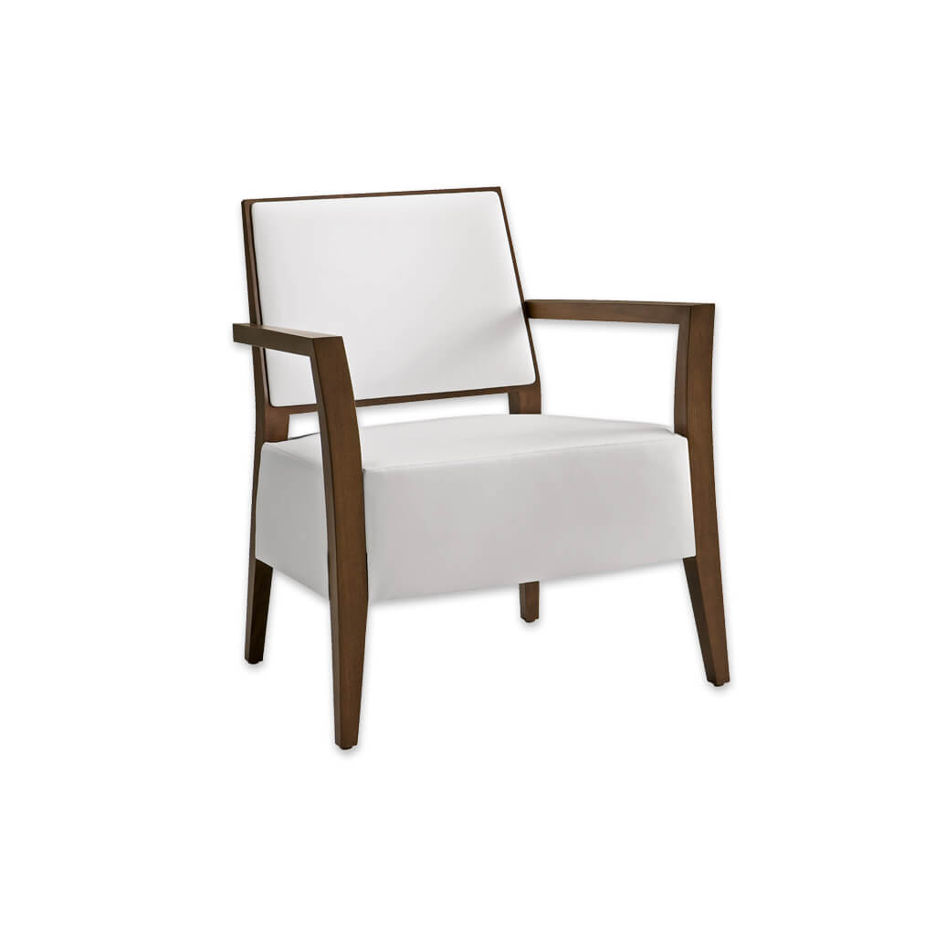 Timberly White Lounge Chair with Angular Show Wood Frame and Deep Upholstered Seat Pad 1060 LC1 - Designers Image