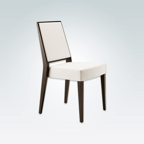 Timberly Modern White Dining Chair with Brown Tapered Show Wood Legs and Upholstered Seat 3075 RC1