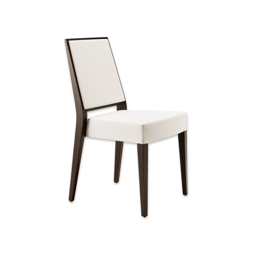 Timberly Modern White Dining Chair with Brown Tapered Show Wood Legs and Upholstered Seat 3075 RC1 - Designers Image