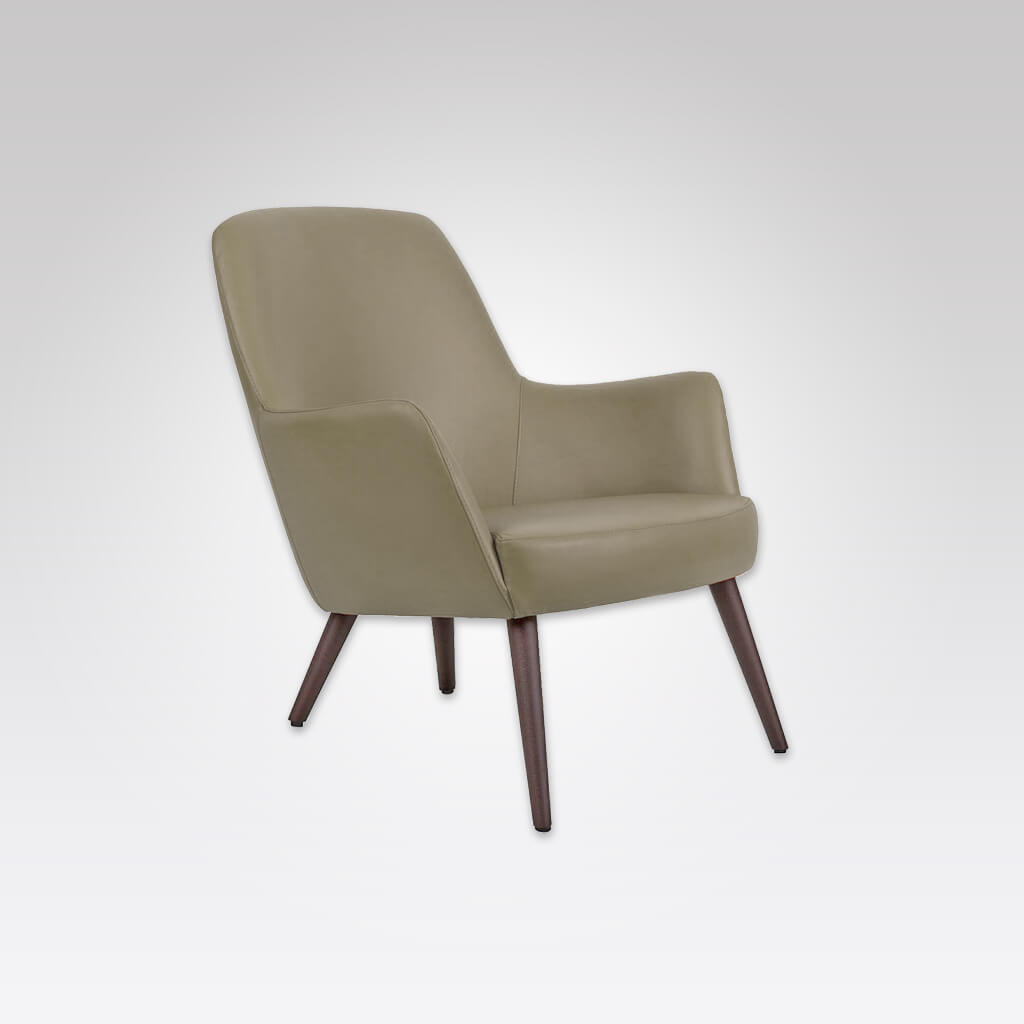 Tito Upholstered Olive Green Lounge Chair with Low Seat Height Sloping Backrest and Timber Conical Legs 1029 LC2