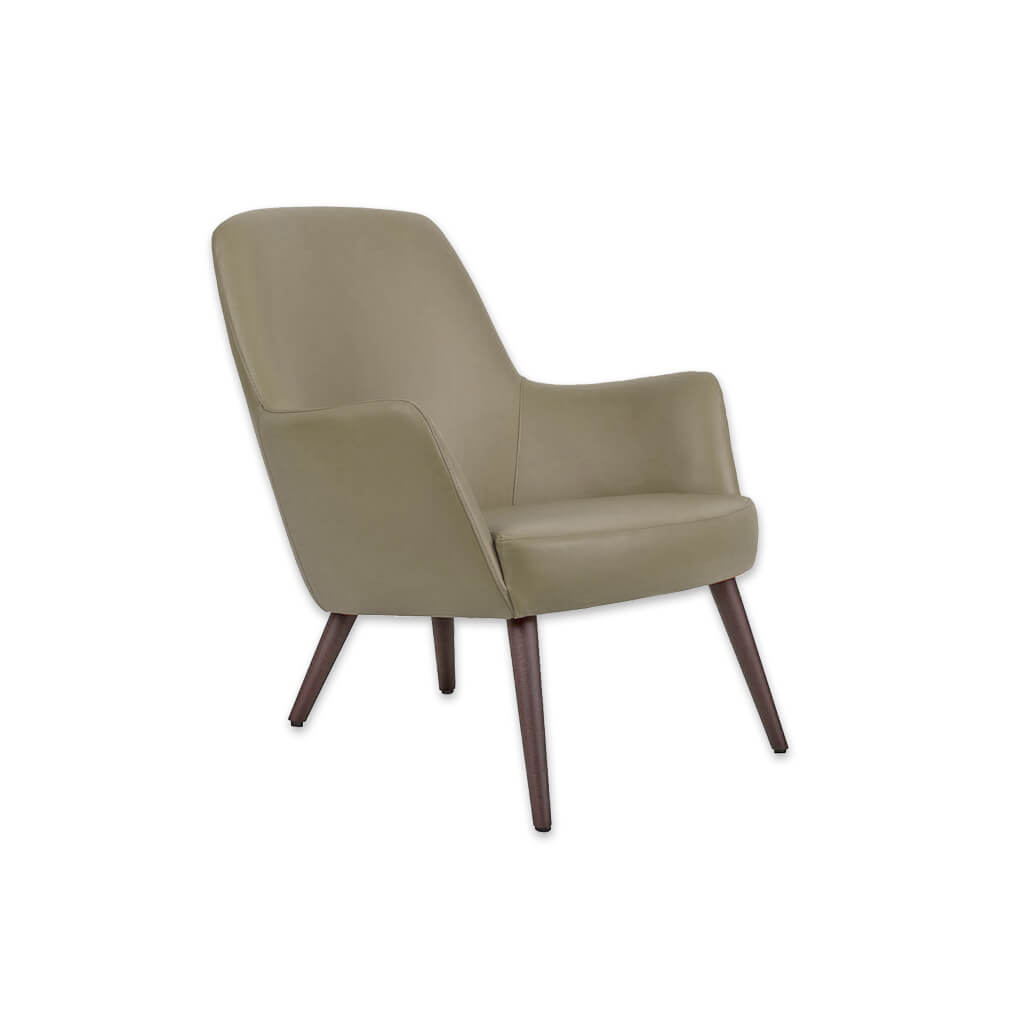 Tito Upholstered Olive Green Lounge Chair with Low Seat Height Sloping Backrest and Timber Conical Legs 1029 LC2 - Designers Image