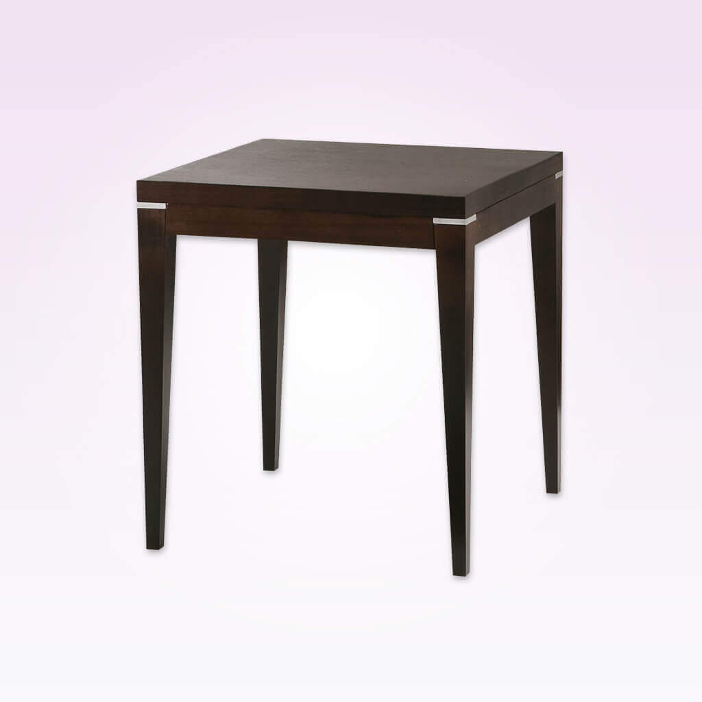Toffee dark brown rectangular dining table with wooden frame and tapered legs. 1152