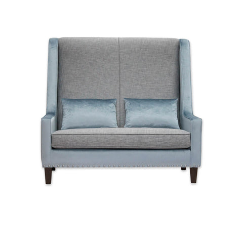Tono grey and blue sofa with contrast upholstery, high back and loose cushions 8030 SF1