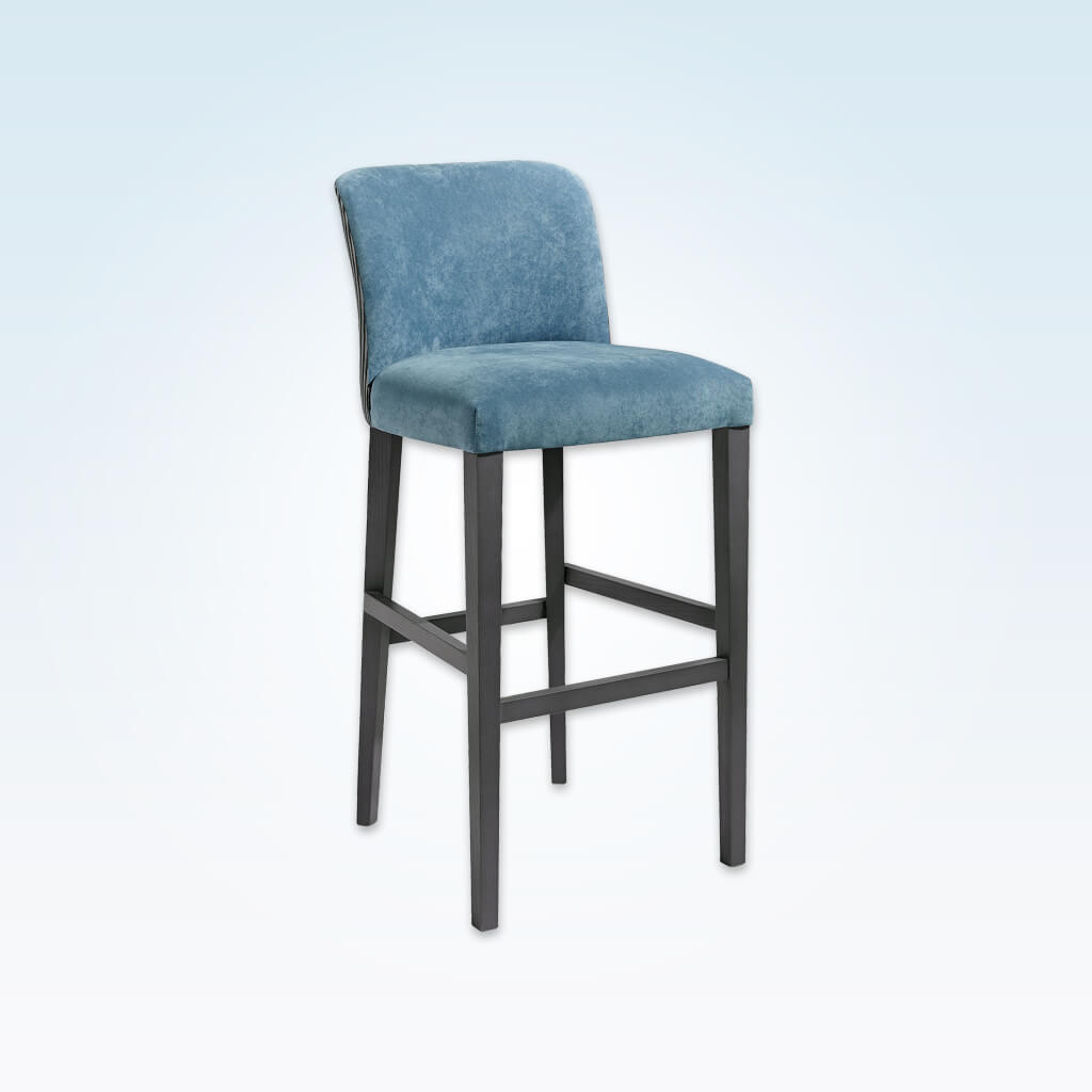 Tori baby blue bar stool upholstered in velvet with a dark wood frame and tapered legs 6043 BR1