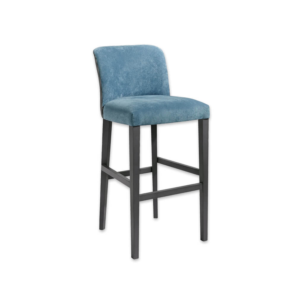 Tori baby blue bar stool upholstered in velvet with a dark wood frame and tapered legs 6043 BR1 - Designers Image