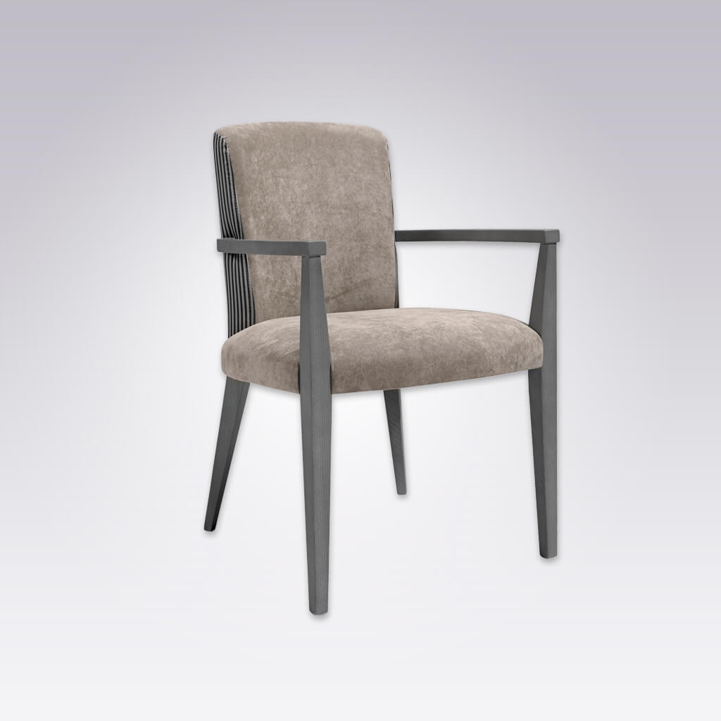 Tori Neutral Velvet Armchair Tapered Arms and Upholstered Seat and Back 4038 AC1